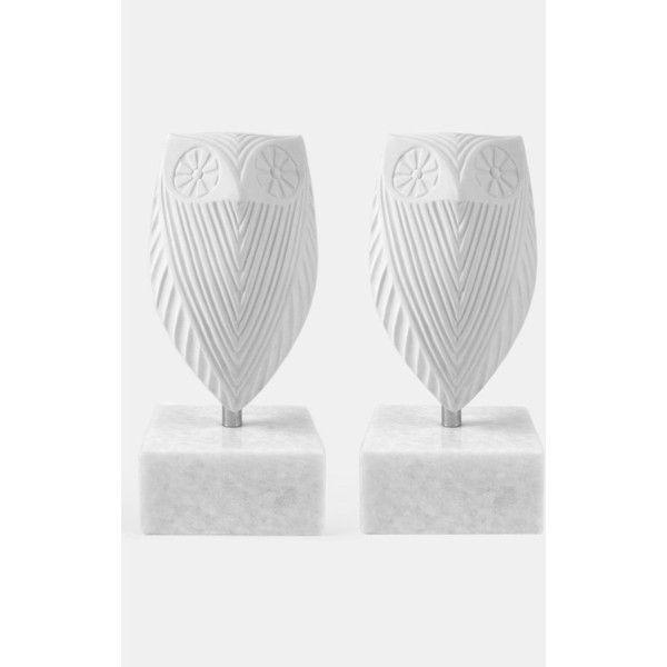Jonathan Adler 'Owl' Porcelain Bookends ($195) found on Polyvore
