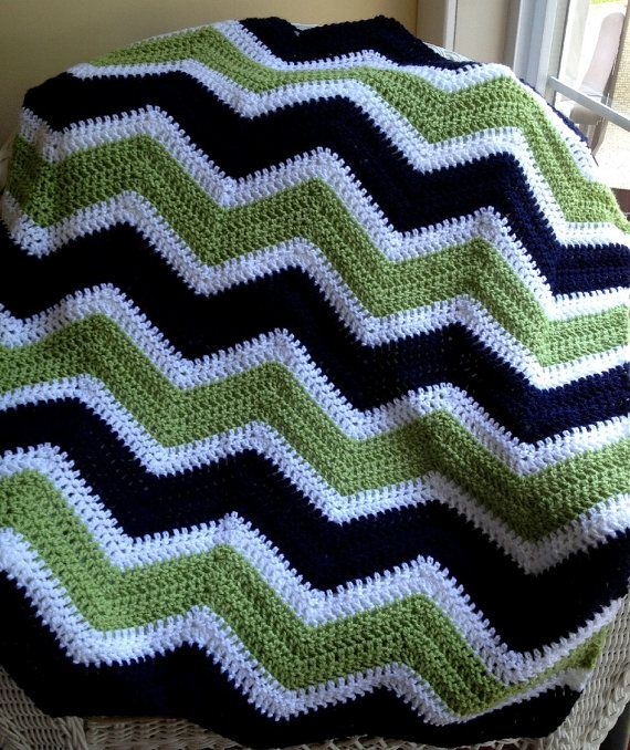 new chevron zig zag baby blanket afghan wrap crochet knit wheelchair ...
