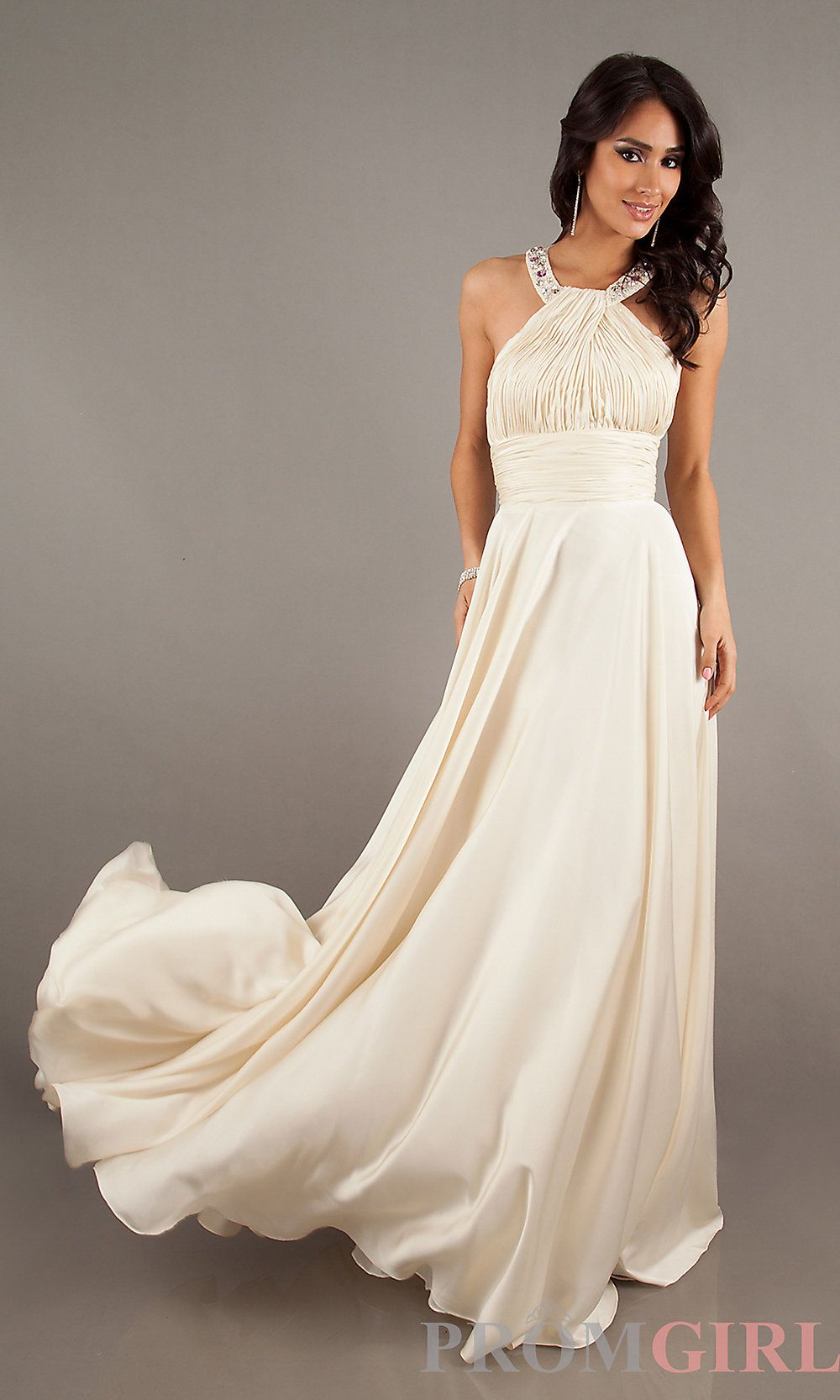 High-Neck Long Halter Prom Gown | Cream, Gowns and Shops