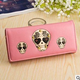 $46.96 (Buy here: http://appdeal.ru/7ucp ) Free shipping 2015 new Korean Ladies Wallet women Long skull design Purse fashion hand bag BG066 for just $46.96