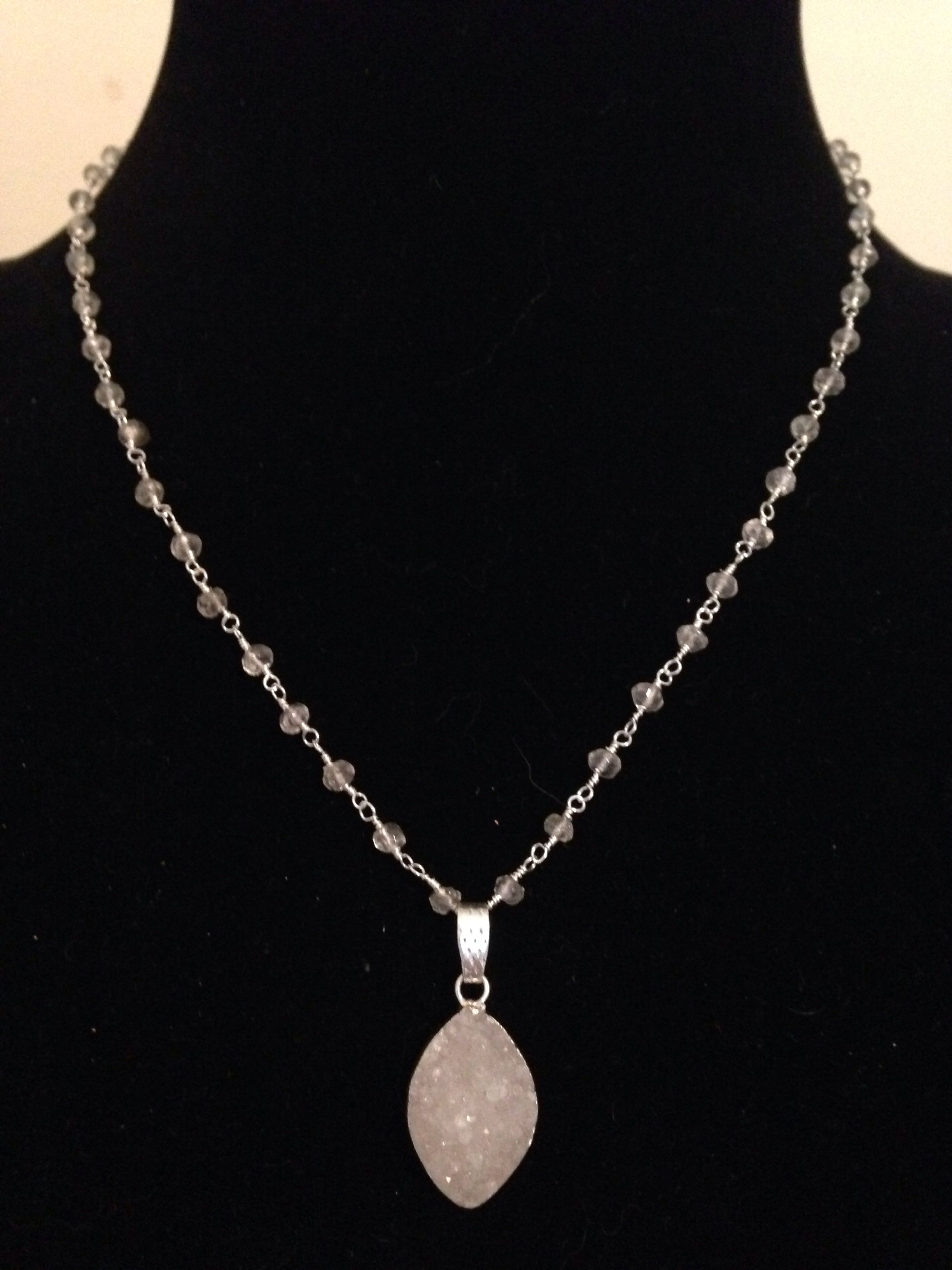 stacilite with pin pendant and chain sterling rock crystal
