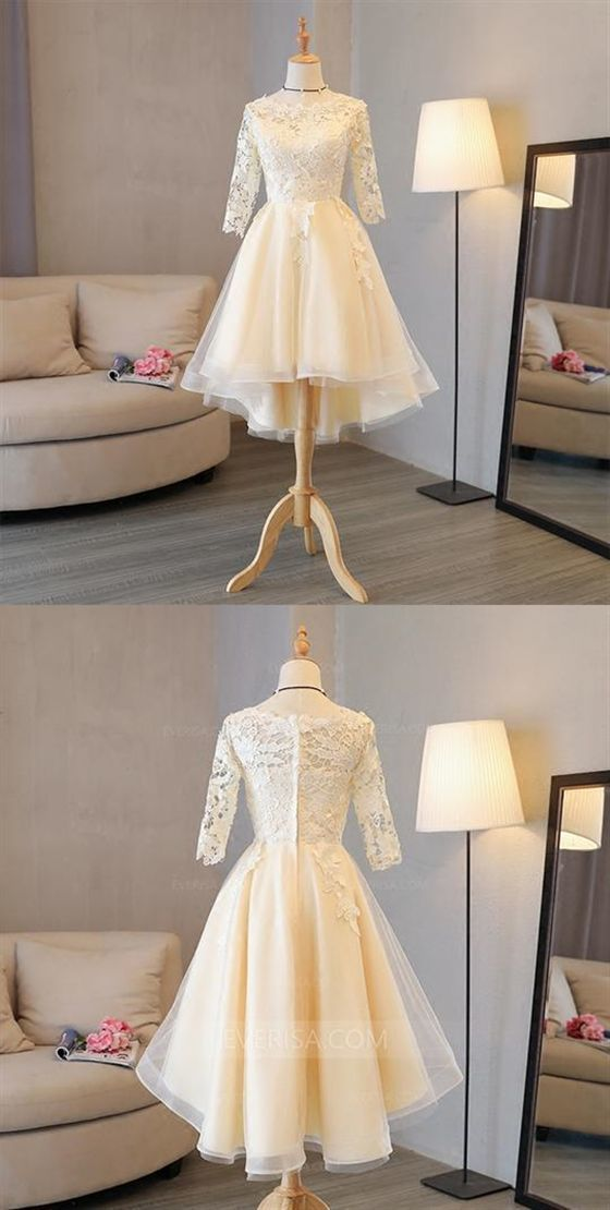 Prom Dress Ball Gown, Long Sleeves Lace Applique Homecoming Dresses,A Line Cocktail Dresses