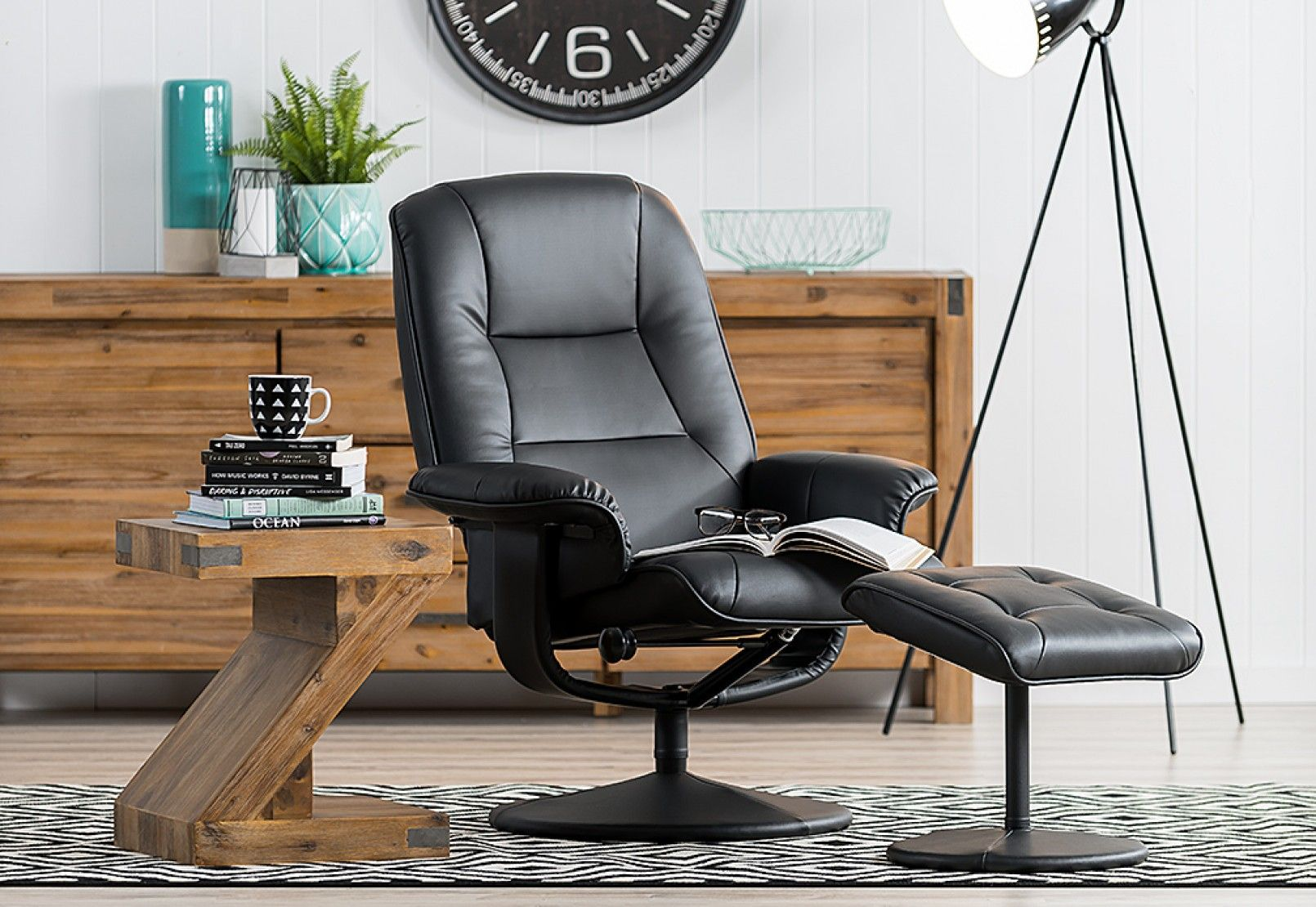 Parker Leather Look Recliner With Foot Stool Super A Mart Furniture Footstool Eames Lounge Chair