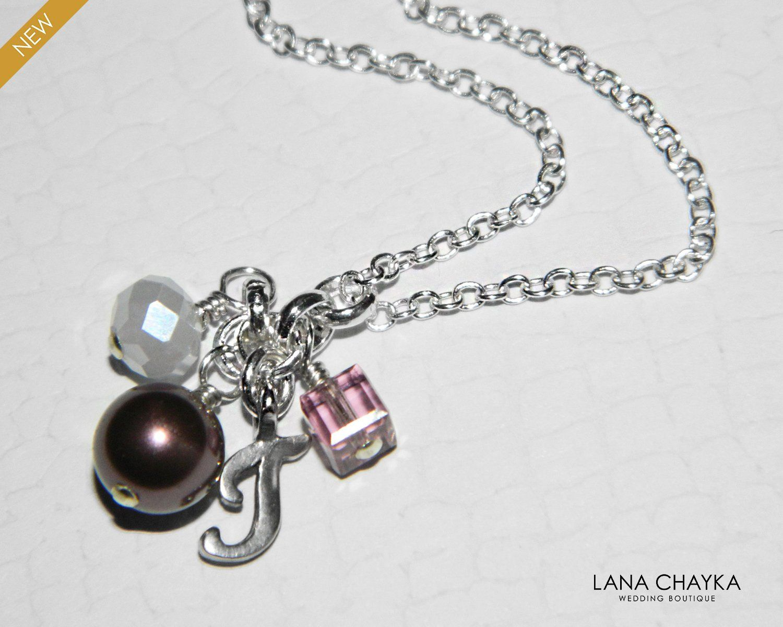 Initial Letter T Necklace Swarovski Burgundy Pearl Charm