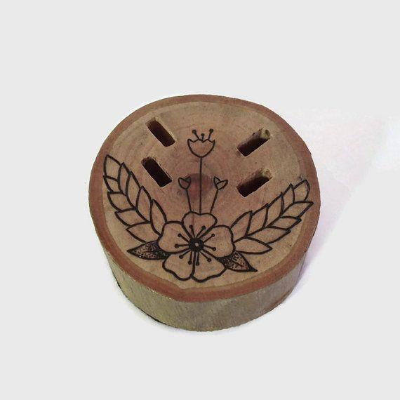 Wooden USB Holder - USB Drive, Wood Burned Art, Wooden Office Decor, Wood Burning, Pyrography, Office Art