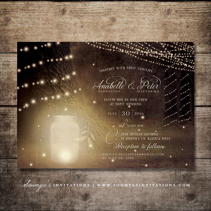 Enchanted Forest Wedding Invitation, Fireflies Rustic Garden Lights ...