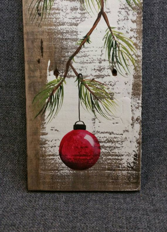 Red hand painted christmas decoration gift pine branch for Christmas art painting ideas