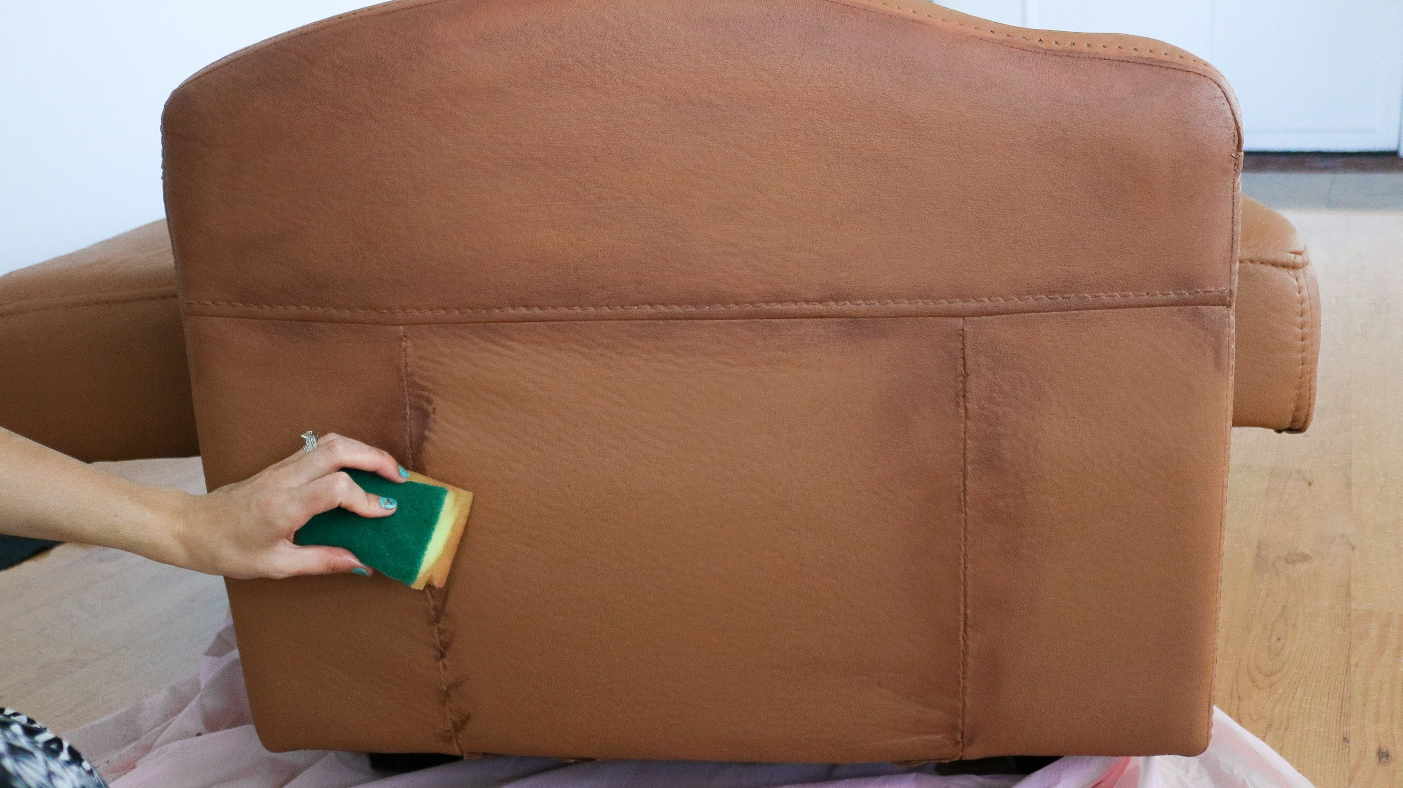 How To Paint Your Microfiber Couch To Look Like Real Leather Microfiber Couch Faux Leather Sofa Painted Couch