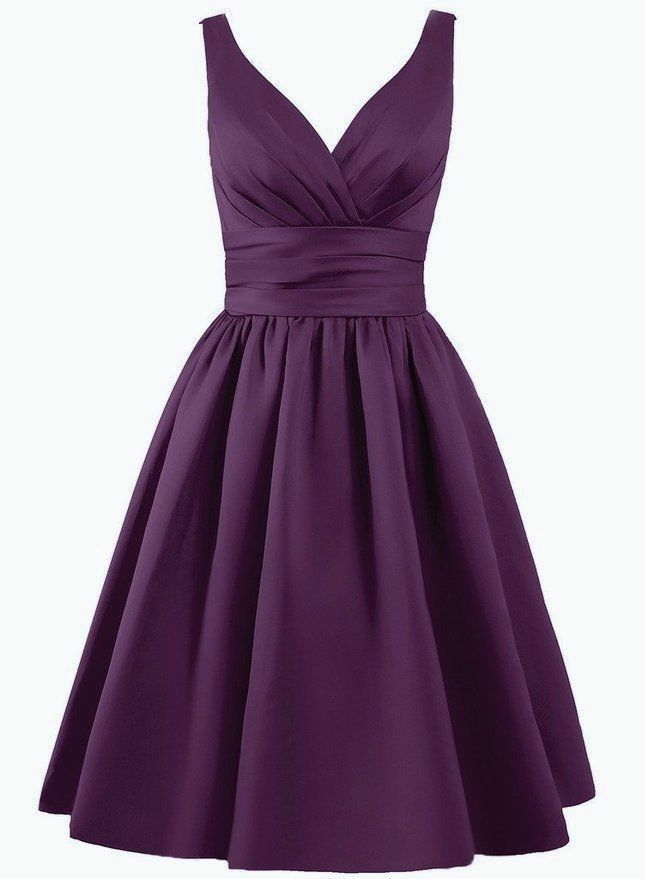 Beautiful knee length matte satin dress V shaped pleated neckline ...