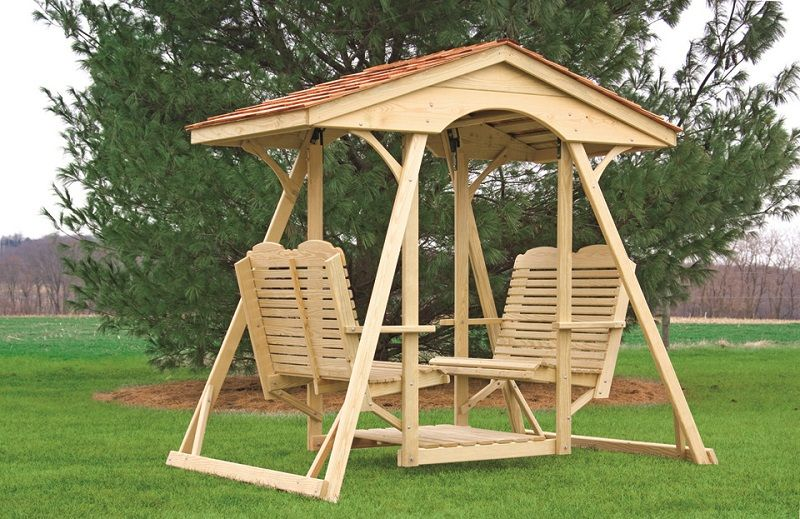 Double Lawn Glider Cedar Shingle Top Traditional Patio