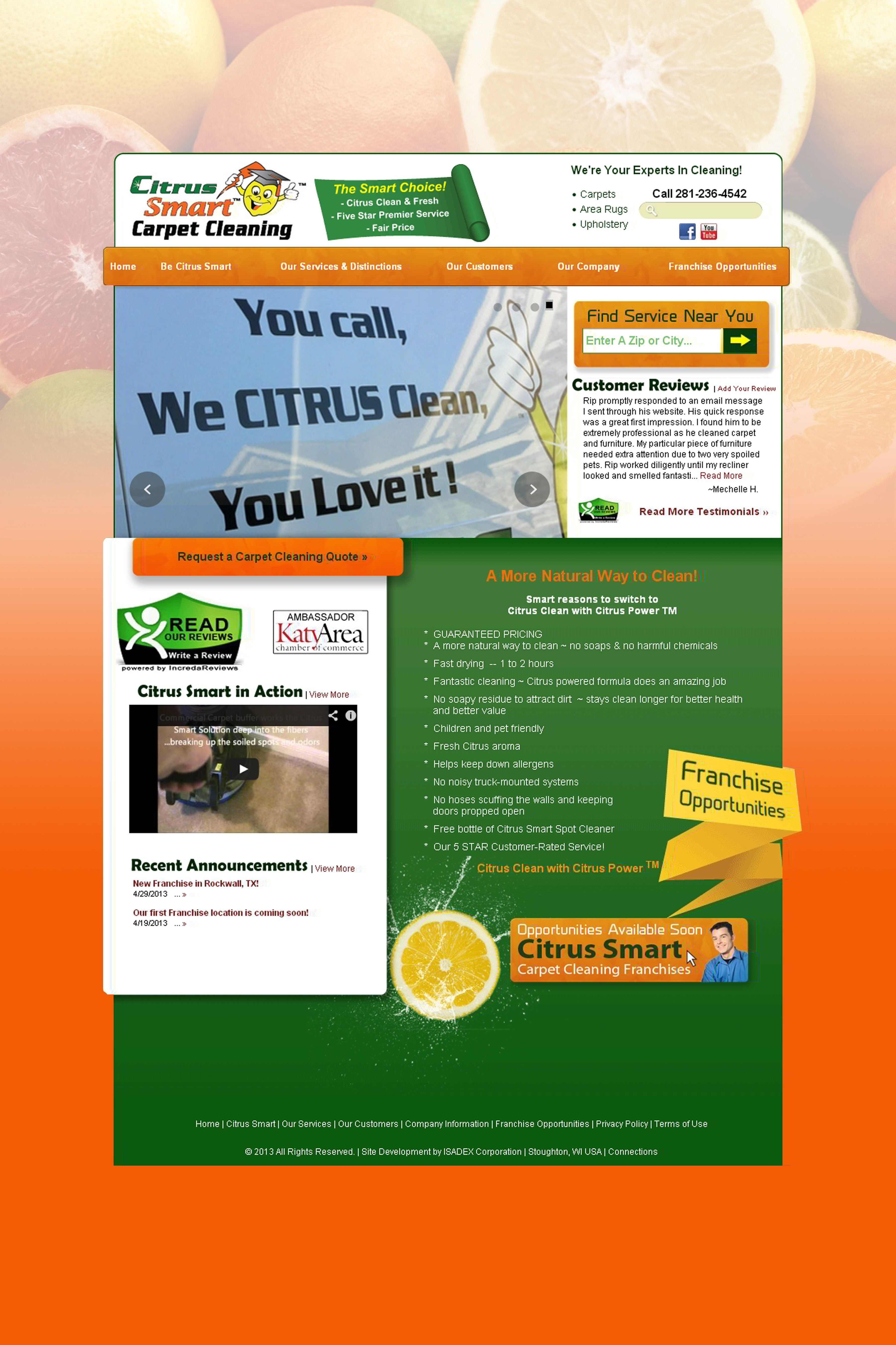 Be Citrus Smart Carpet Cleaning Carpet Cleaning Franchise Located In Katy Texas You Call We Citrus Cl How To Clean Carpet Cleaning Franchise Citrus Clean