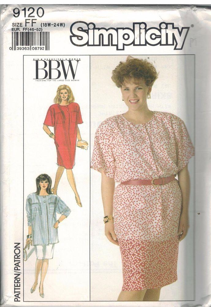 9120 Uncut Simplicity Sewing Pattern Misses Dress Tunic Skirt BBW ...