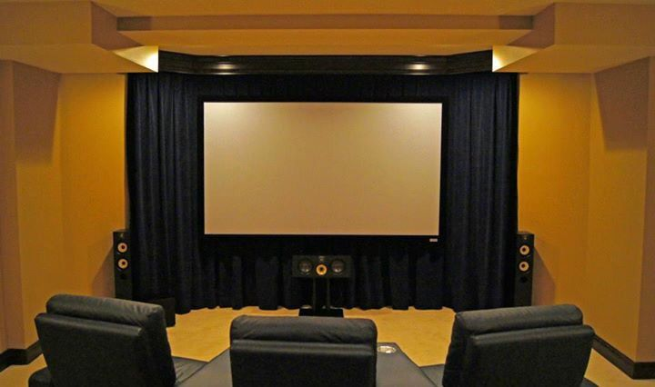 Floating Cinema Screen Over A Wall Of Velour Curtains