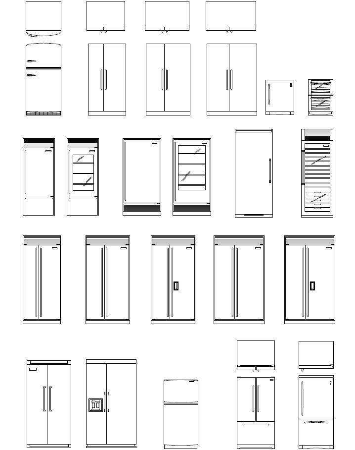 Archblocks Autocad Refrigerator Block Symbols Drafting Pinterest