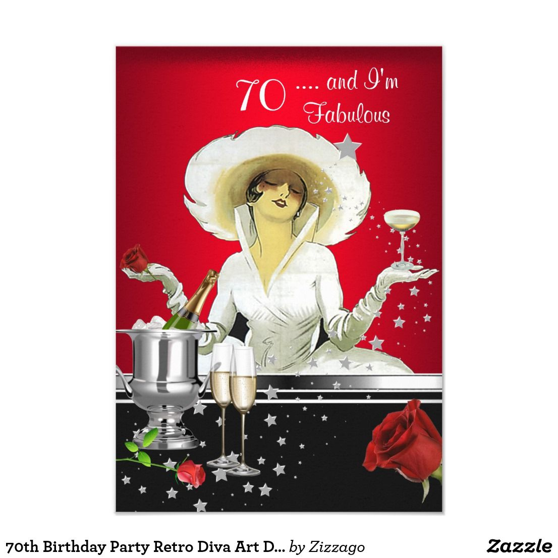 70th Birthday Party Retro Diva Art Deco Red Silver Card | 70 ...