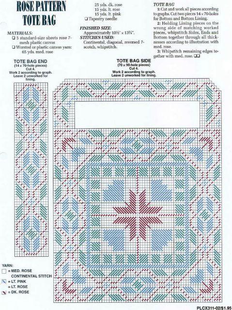 Rose Pattern Tote Bag plastic canvas pattern