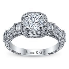 Kirk Kara 18K White Gold Diamond Engagement Ring Setting