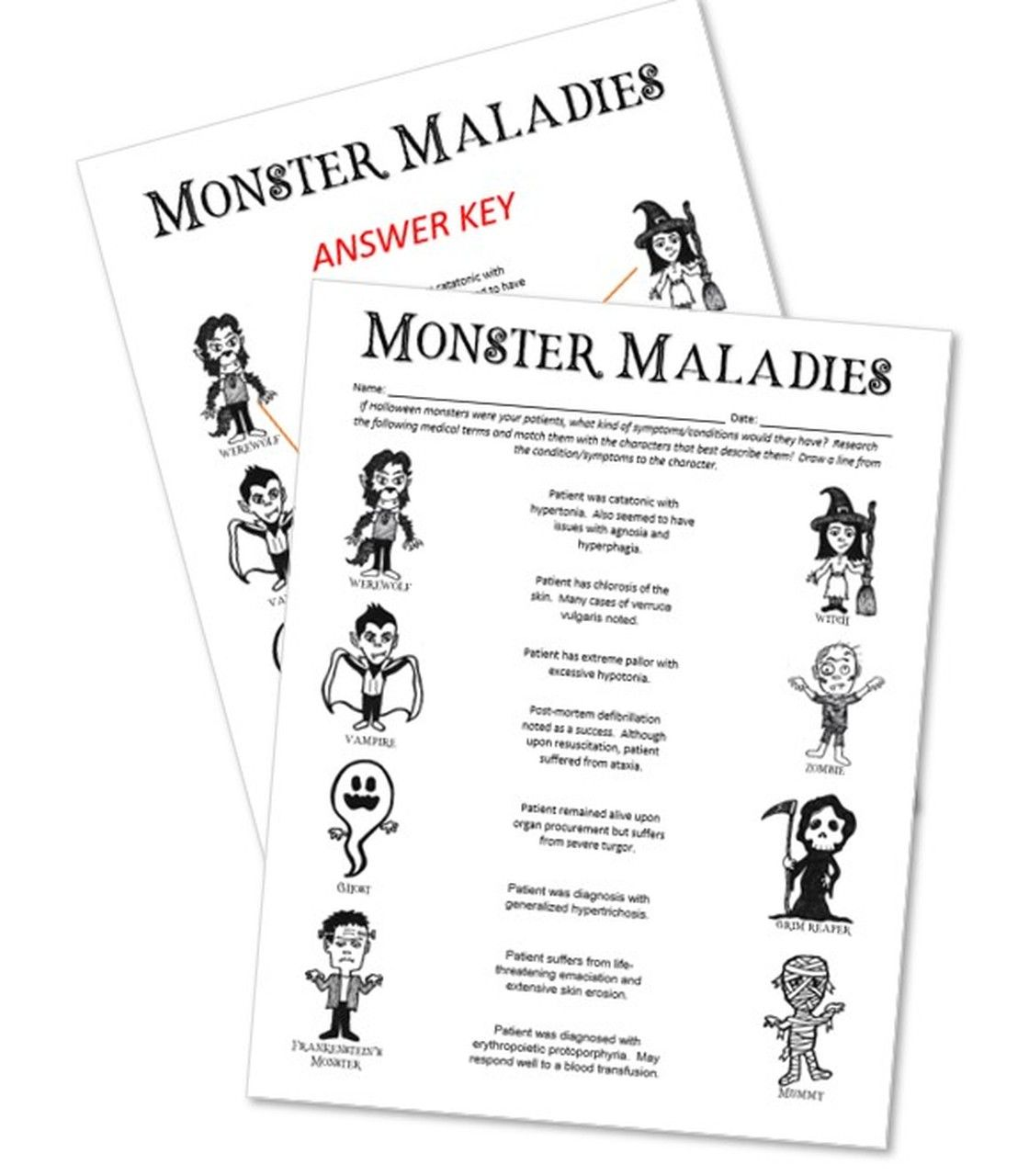 Halloween Monster Maladies Halloween Activities Word Definitions Medical Terminology