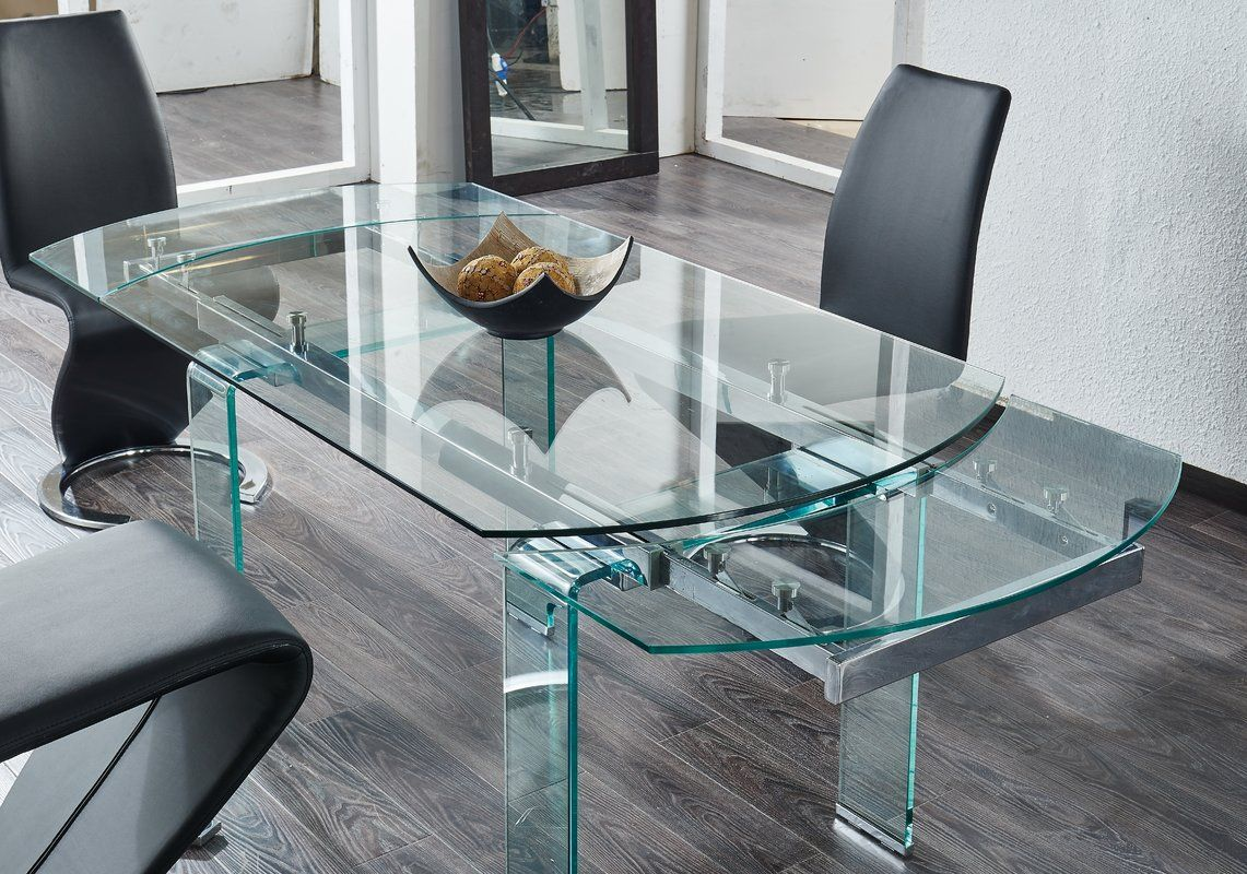 Wilcox Extendable Dining Table Glass Dining Table Decor Glass Dining Table Glass Dinning Table