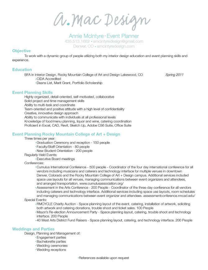 Events Coordinator Resume Custom Event Planner Resume #interiordesignideasandthings  Interior .