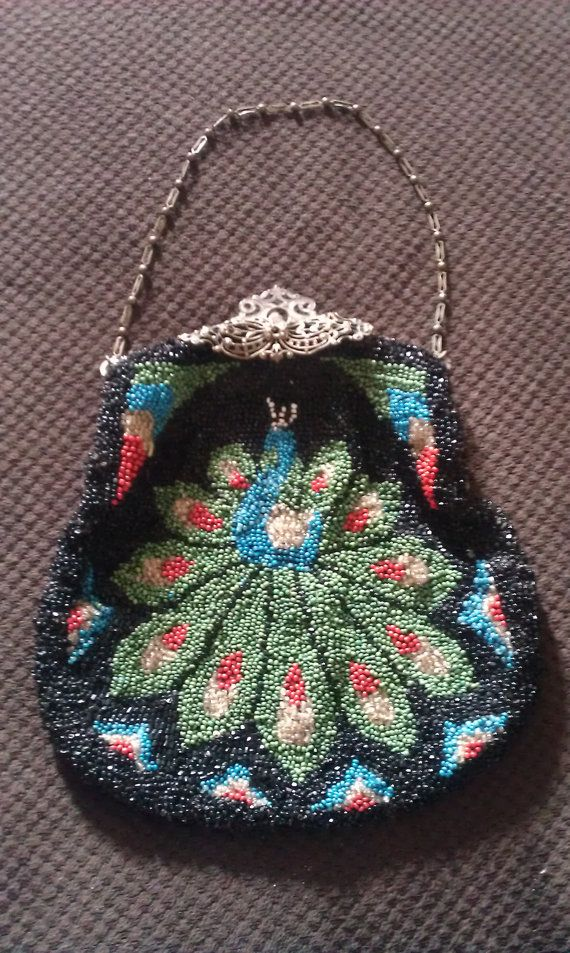 Antique Beaded Purse.Peacock Carnival Glass Evening Bag.Antique Beaded Handbag.Flapper Accessories.Vintage Beaded Purse.Antique Purse.