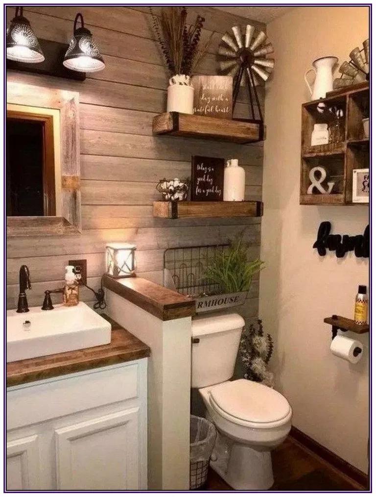 26 Borderline Genius Home Improvement Projects That Are Easier Than They Look Aux Pays Des Fl Farmhouse Bathroom Decor Bathroom Remodel Master Bathroom Decor