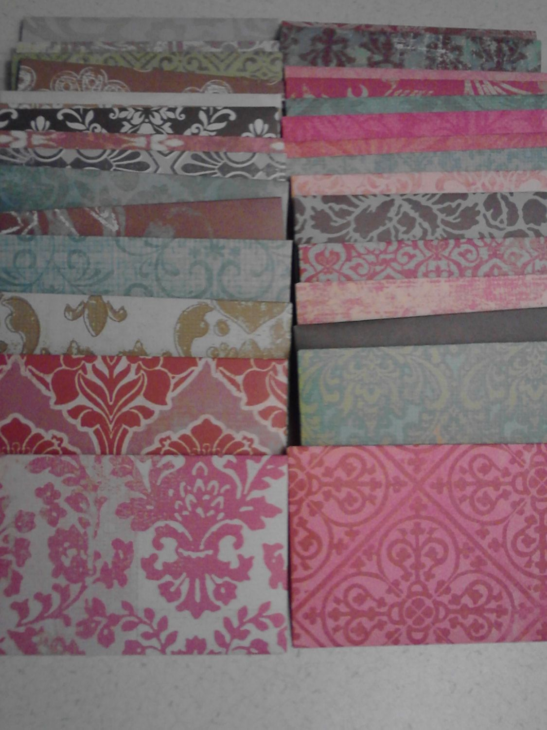 Damask gift card envelopes business card envelopes handmade damask gift card envelopes business card envelopes handmade envelope trios treasure paper pattern small valentines day colourmoves