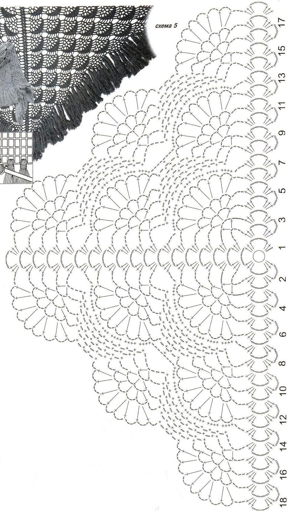 Ажурная шаль с бахромой | Crochet | Pinterest | Chal, Ganchillo y ...