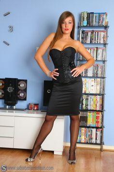 black satin pencil skirt black overbust corset sheer black