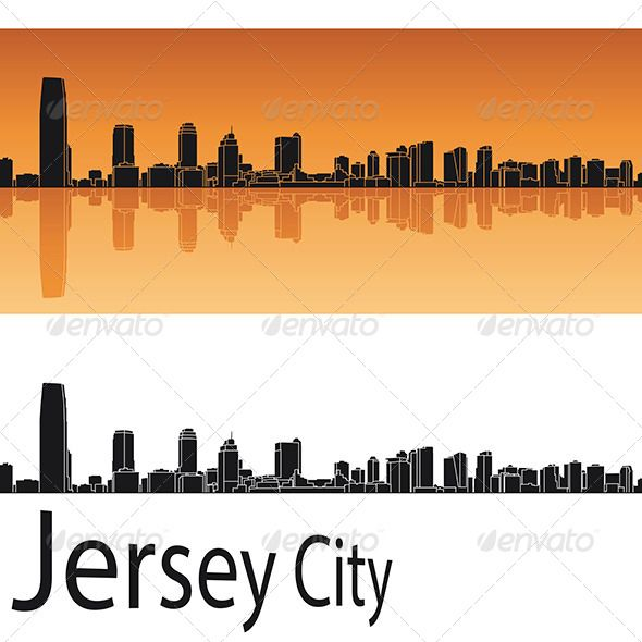 Jersey City Skyline In Orange Background Orange Background City Skyline Jersey City