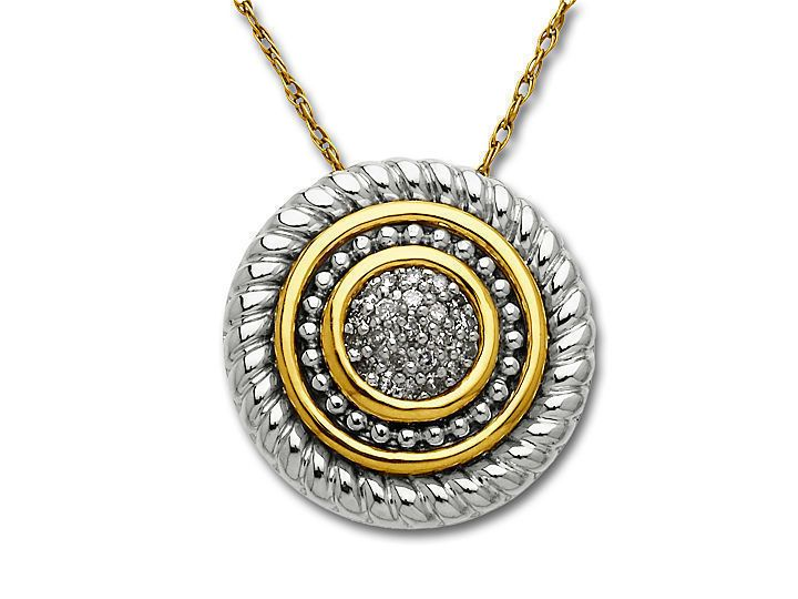 A Scintillating Disc Pendant With Concentric Circles Of