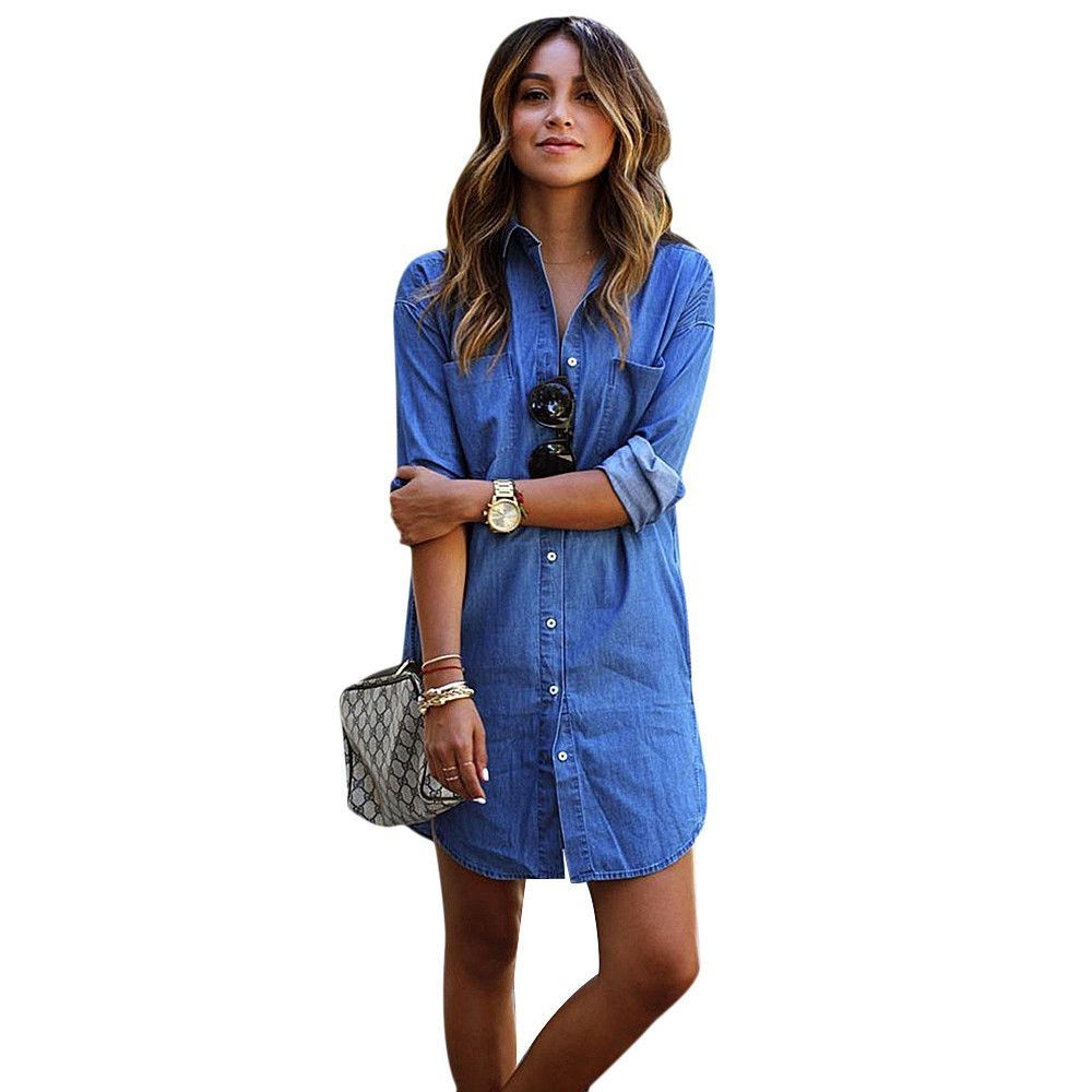 Women long sleeve denim cowboy long shirt casual tops shirt dress