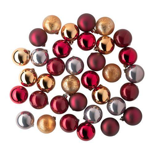 IKEA - VINTER 2015, Dekoration, kugle, Inkl. snore og kroge til ophængning. Du behøver ikke at købe ekstra.Fremstillet af et holdbart materiale, så de ikke går i stykker, hvis de falder på gulvet.