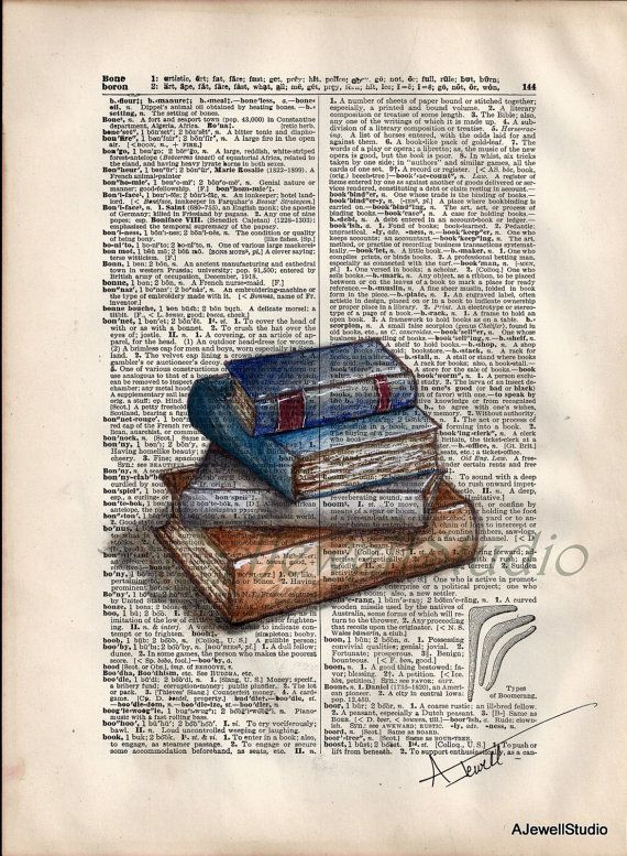 Books, Dictionary page, Drawing, Colored pencil, Ink ...