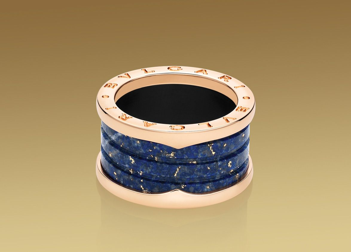 Zero1 4-band Ring In 18k Pink Gold And Blue Marble