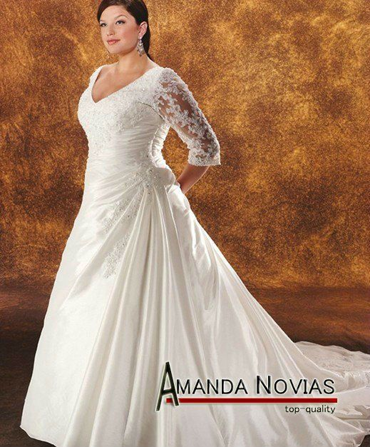 Casual Wedding Dresses With Sleeves Plus Size PLUS-021