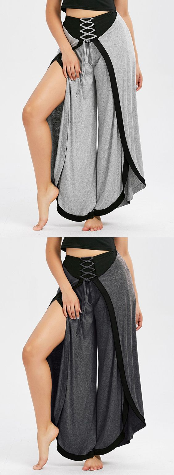 lace up high slit palazzo pants | yoga pants outfit, trouser