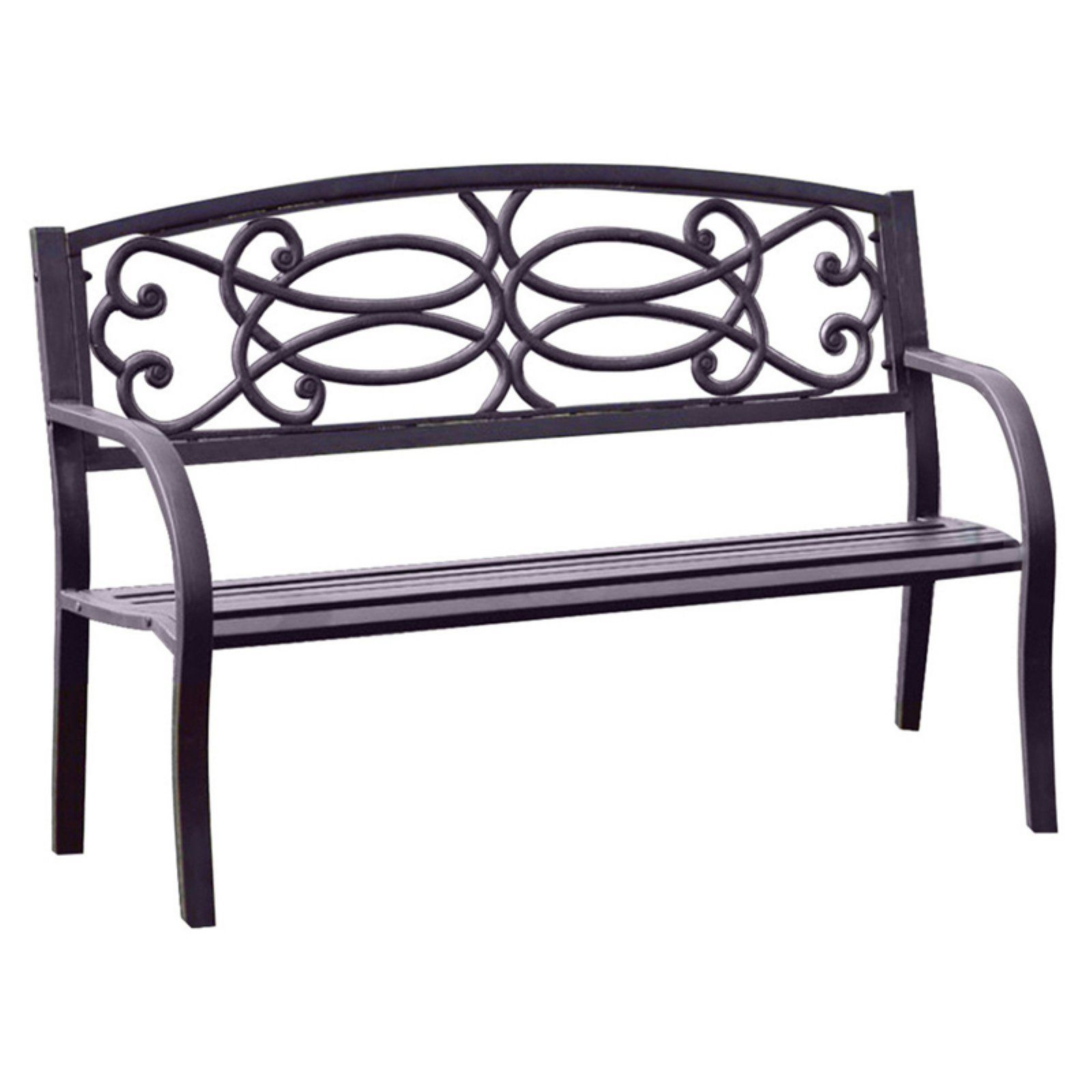 Outdoor Benzara Potter 4 2 Ft Curved Back Garden Bench Black In