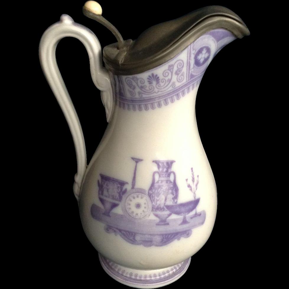 Mayer elliot pitcher etruscan vases jug ironstone pewter cover mayer elliot pitcher etruscan vases jug ironstone pewter cover antique english 19th century 1858 1861 england transferware printing reviewsmspy