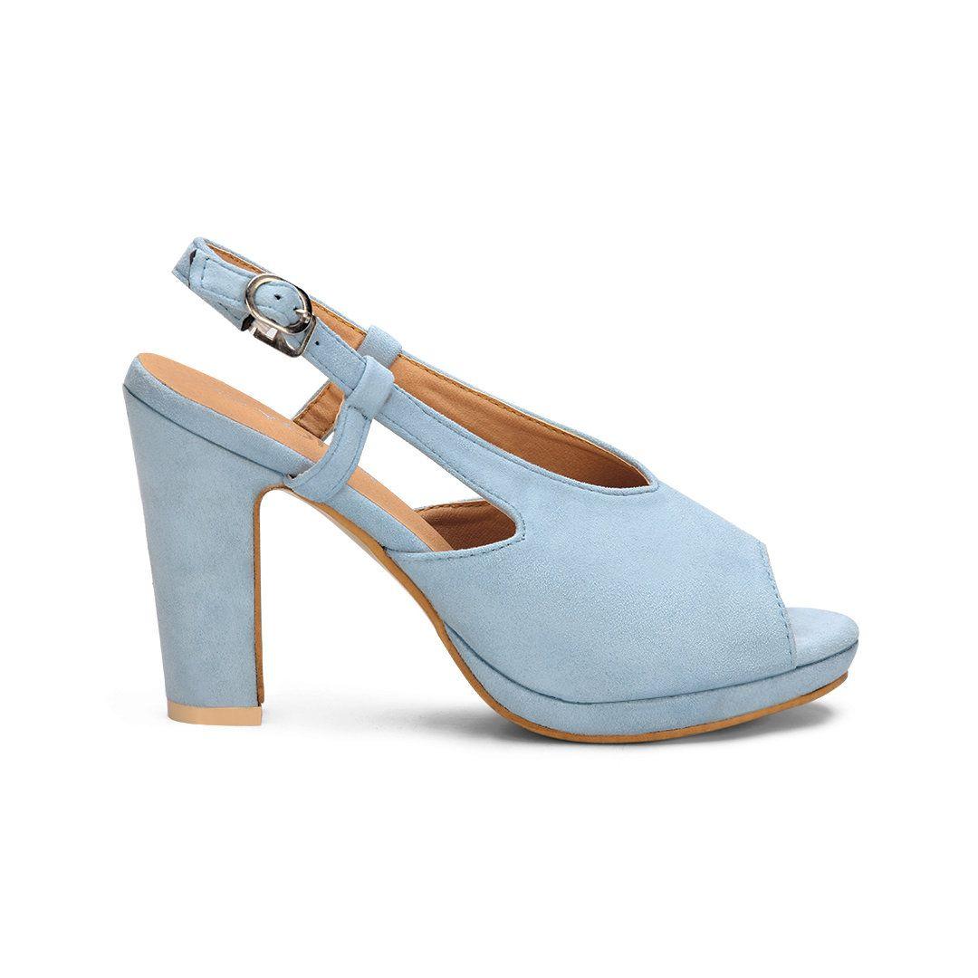 Light Blue Peep Toe Block Heel Ladies Style Sandals