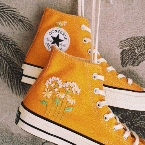 Hand embroidered converse chuck 70 trainers