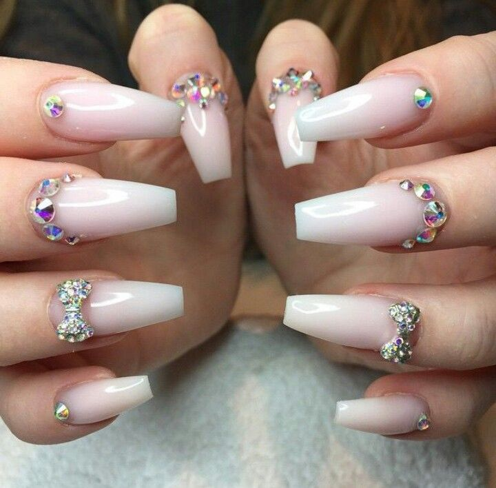 Crystal White Ombre Acrylic Nails W Rhinestones