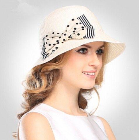 Polka Dot bow white sun hat for women elegance beach straw hats package