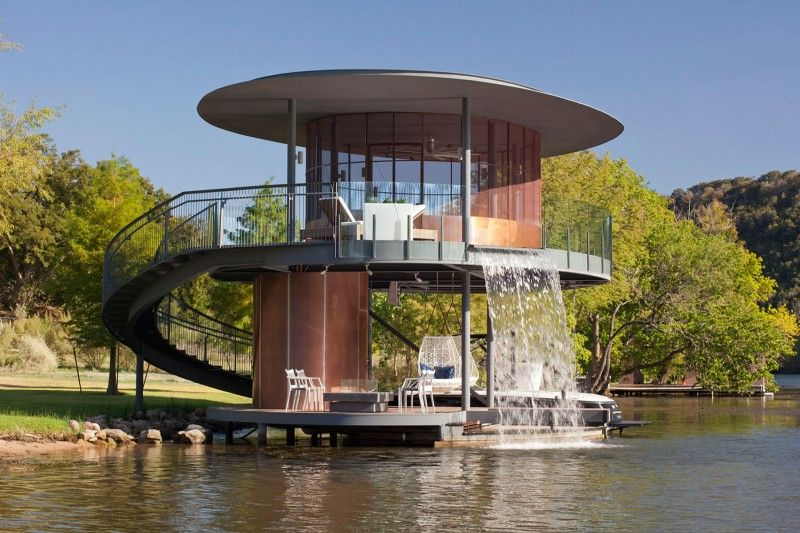 the shore vista boat dock was completed by the austin based design and construction firm bercy chen studio this two story elliptical boat dock is located - Boat Dock Design Ideas