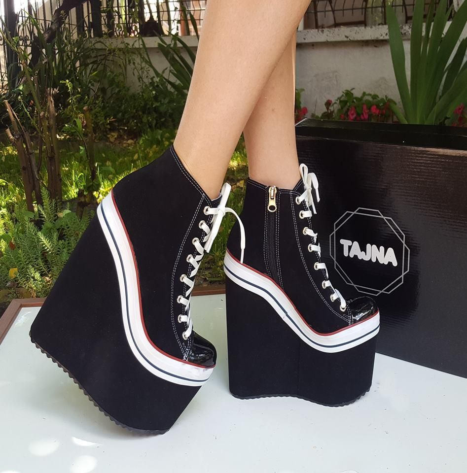 e9547c686 Super High Heel Convers Style Wedges Lace Up Booties New Season High  Quality, Fashionable Platform Shoes Konvers Big size small size women shoes