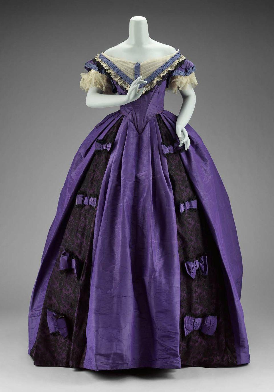 Jessie benton fremont purple moiré faille dress trimmed with black