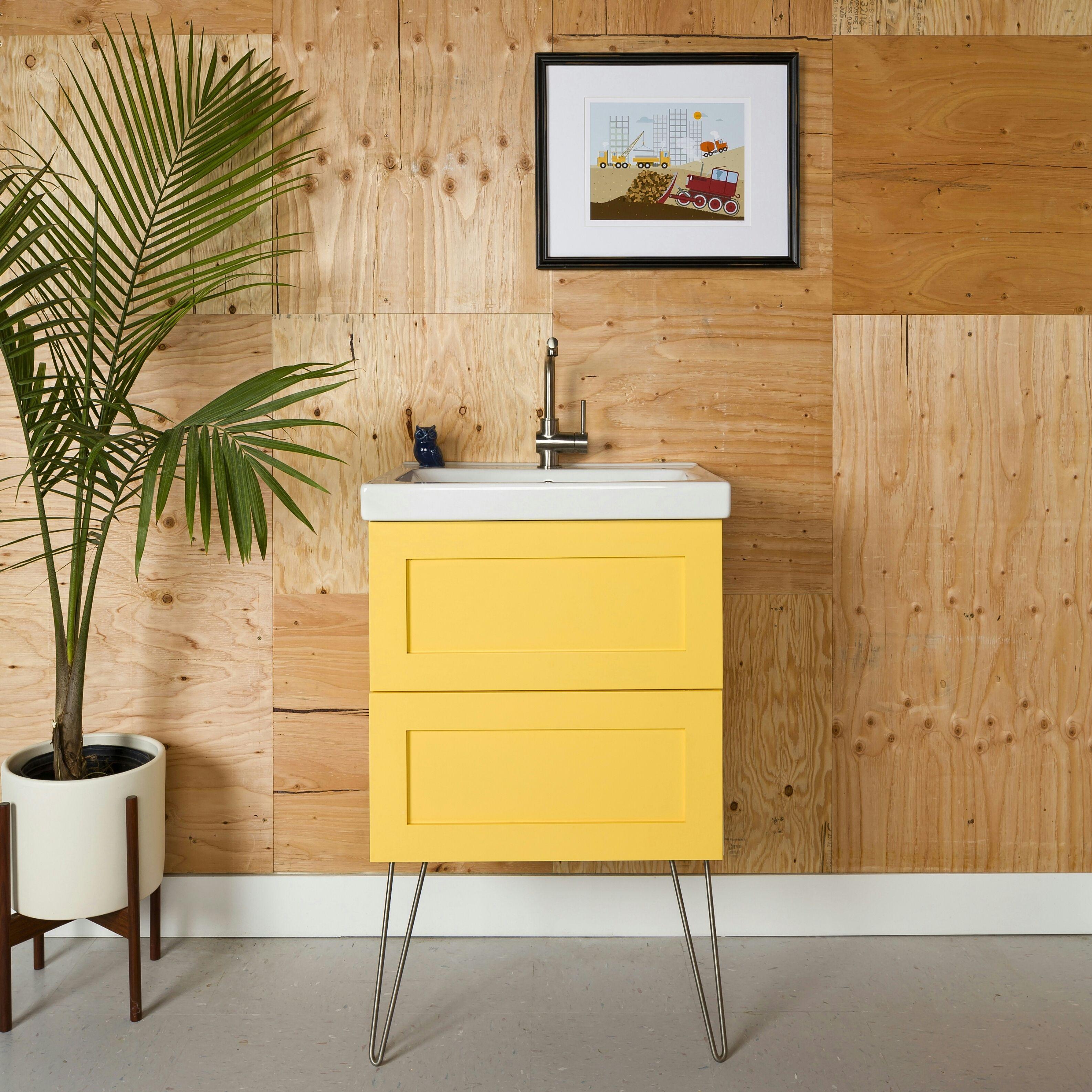 Semihandmade DIY Shaker Ikea Godmorgon Bath Cabinet Hairpin legs