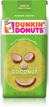 Love this Dunkin' Donuts Coconut coffee packaging