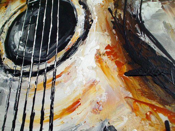 Guitar Painting, Acoustic Guitar Art, Music Art, Guitar