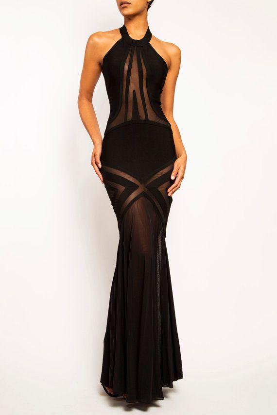 TAYLOR - Long Bandage Mesh Sheer Mermaid Evening Gown Prom Dress ...